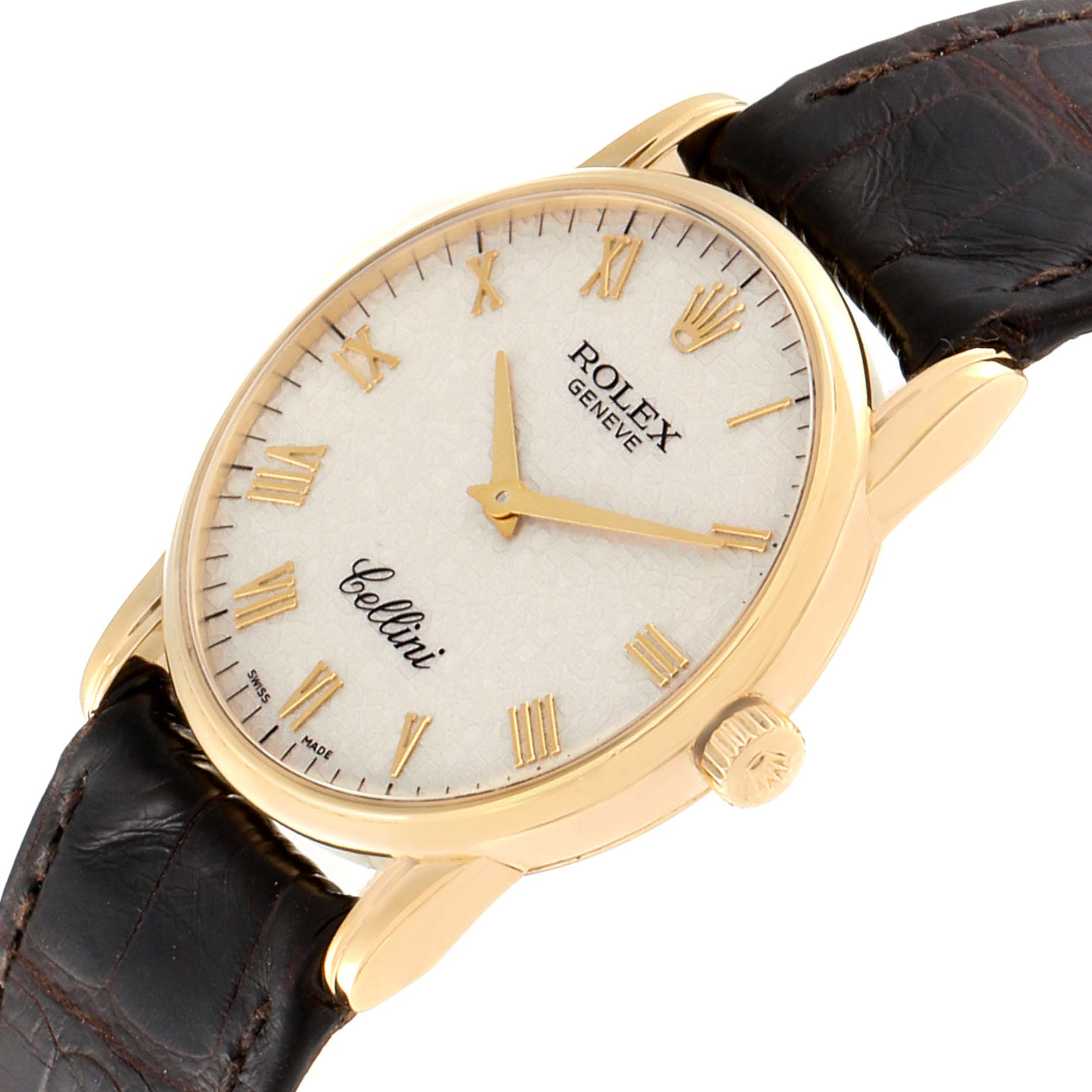Rolex Cellini Classic Yellow Gold Anniversary Dial Brown Strap Watch 5116 SwissWatchExpo