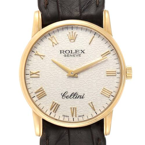 Photo of Rolex Cellini Classic Yellow Gold Anniversary Dial Brown Strap Watch 5116