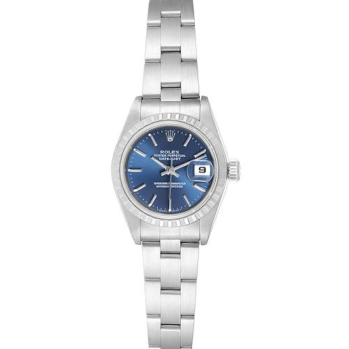 Photo of Rolex Date Blue Dial Oyster Bracelet Steel Ladies Watch 69240 Box Papers