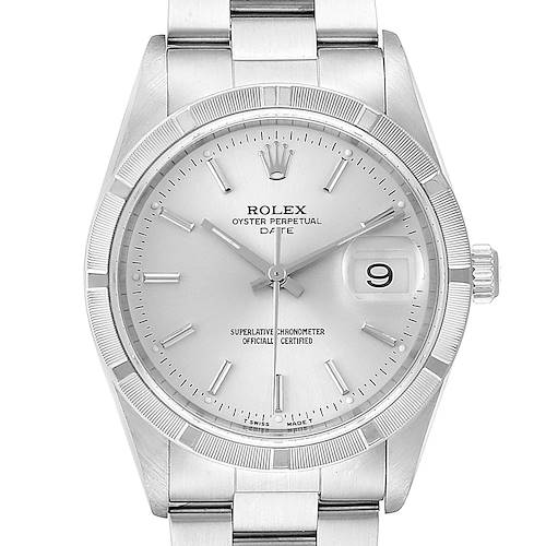 Photo of Rolex Date Silver Baton Dial Oyster Bracelet Steel Mens Watch 15210