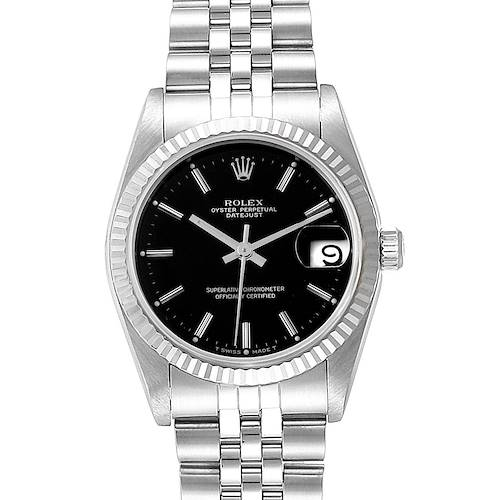 Photo of Rolex Datejust Midsize 31 Steel White Gold Black Dial Ladies Watch 68274