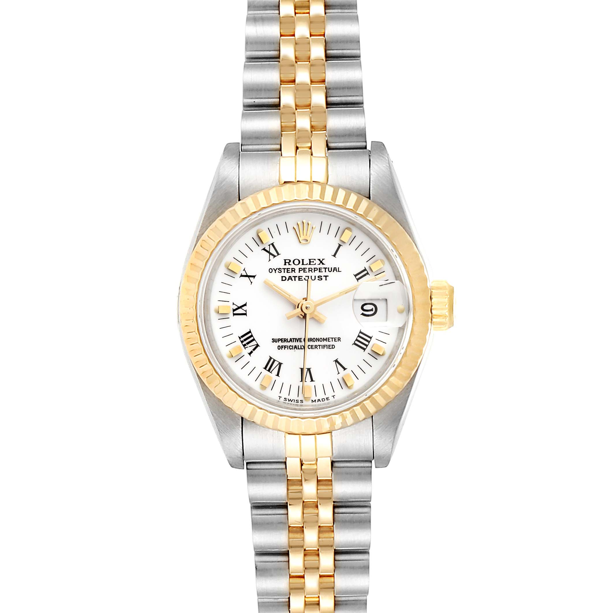 Rolex Datejust Steel Yellow Gold White Dial Ladies Watch 69173 Box Papers