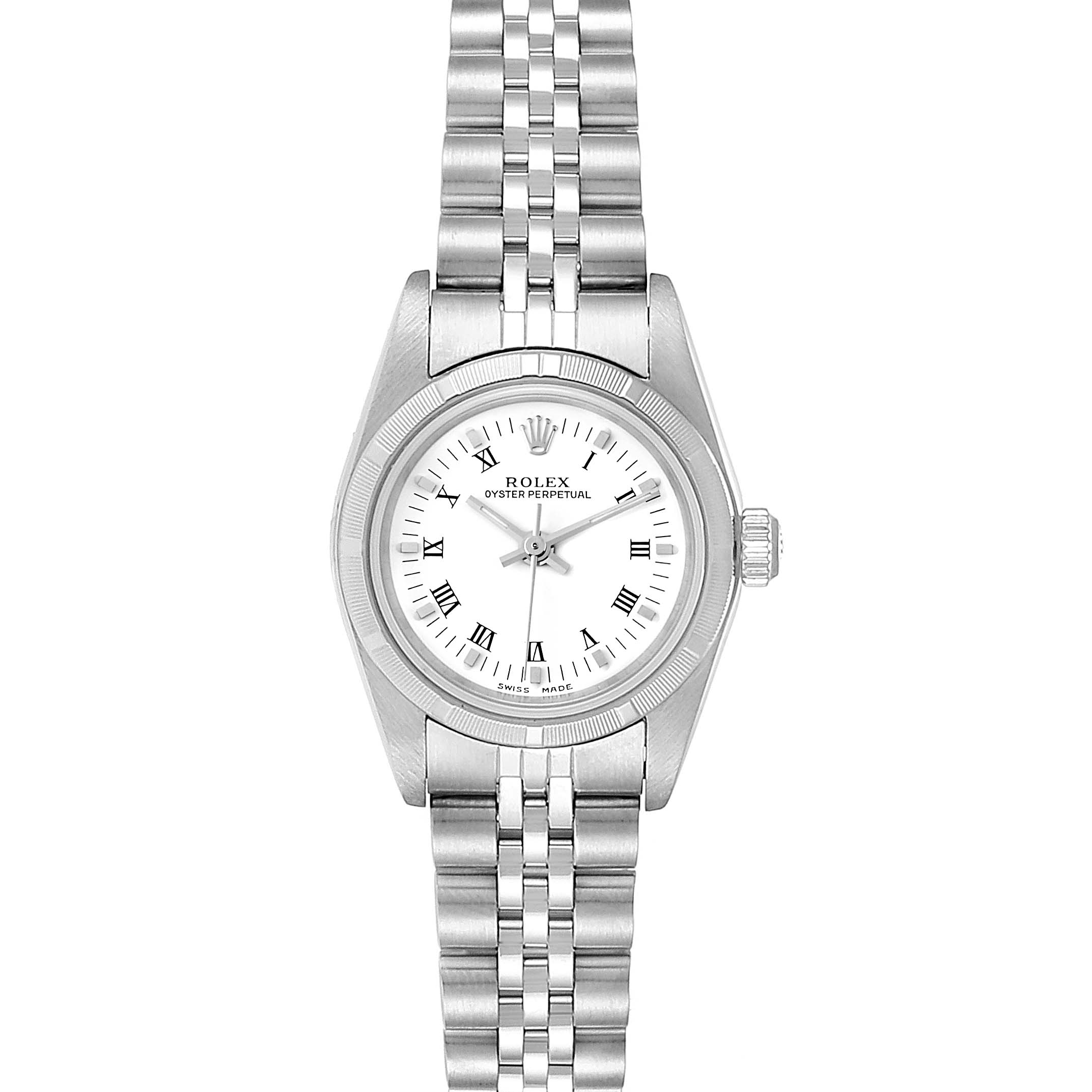 Rolex Oyster Perpetual White Dial Steel Ladies Watch 76030 Box