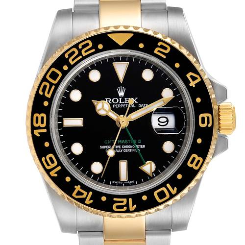 Photo of Rolex GMT Master II Yellow Gold Steel Mens Watch 116713