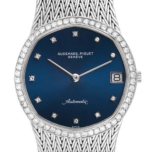 Photo of Audemars Piguet White Gold Blue Dial Diamond Vintage Mens Watch