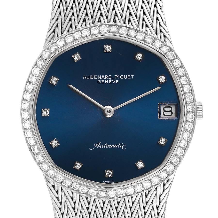 Audemars Piguet White Gold Blue Dial Diamond Vintage Mens Watch SwissWatchExpo