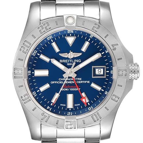Photo of Breitling Aeromarine Avenger II GMT Blue Dial Mens Watch A32390 Box Papers