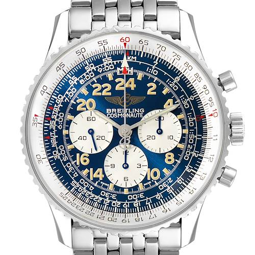 Photo of Breitling Navitimer Cosmonaute Blue Dial Chronograph Mens Watch A12022