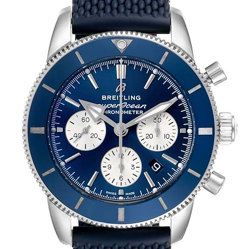 Photo of Breitling SuperOcean Heritage II B01 Blue Dial Steel Watch AB0162 Box Papers