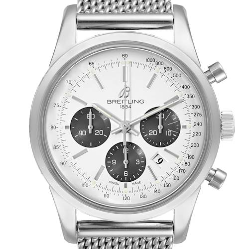 Photo of Breitling Transocean Panda Dial Chronograph Steel Mens Watch AB0152 Papers