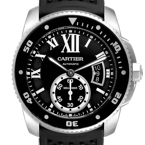 Photo of Cartier Calibre Diver Black Rubber Strap Steel Mens Watch W7100056 Box Papers