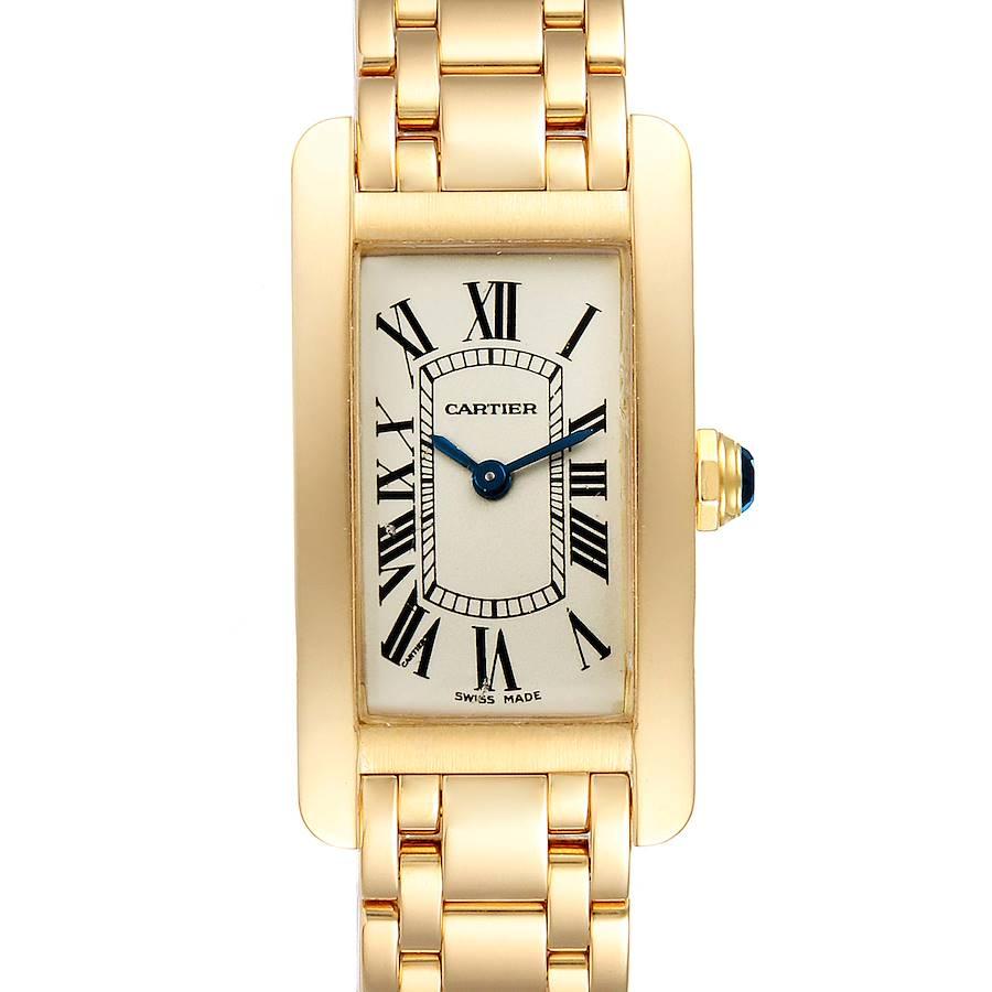 Cartier Tank Americaine 18K Yellow Gold Ladies Watch W26015K2 Box Papers SwissWatchExpo