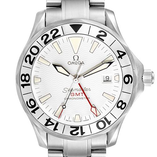 Photo of Omega Seamaster 300M GMT Great White Wave Dial Watch 2538.20.00