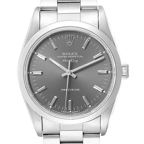 Photo of Rolex Air King 34 Grey Dial Domed Bezel Steel Mens Watch 14000