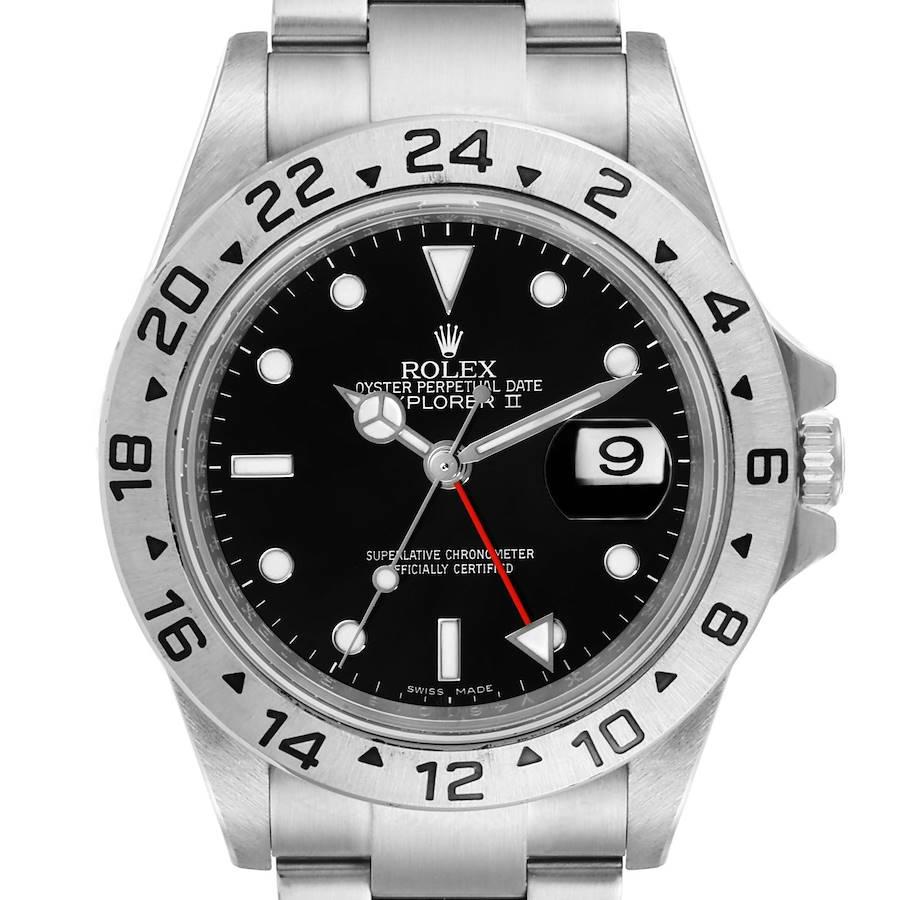Rolex Explorer II Black Dial Parachrom Hairspring Mens Watch 16570 Box Card SwissWatchExpo