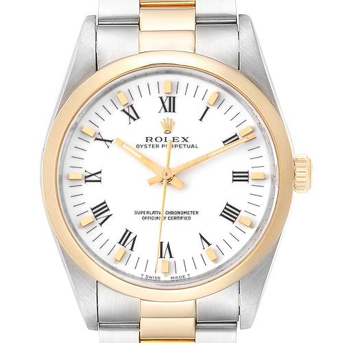 Photo of Rolex Oyster Perpetual White Dial Steel Yellow Gold Mens Watch 14203