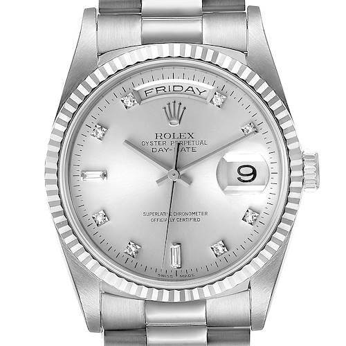 Photo of Rolex President Day-Date 36mm White Gold Diamond Mens Watch 18239