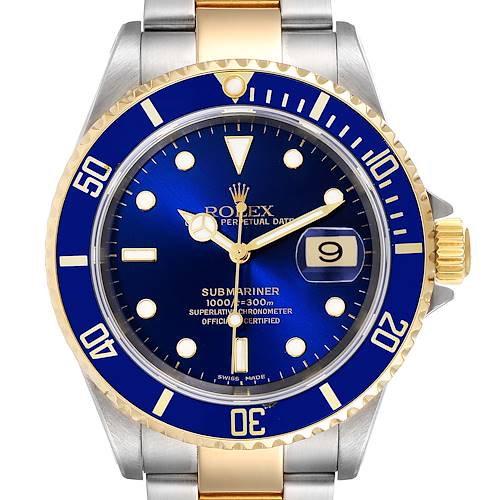 Photo of Rolex Submariner Blue Dial Steel Yellow Gold Mens Watch 16613