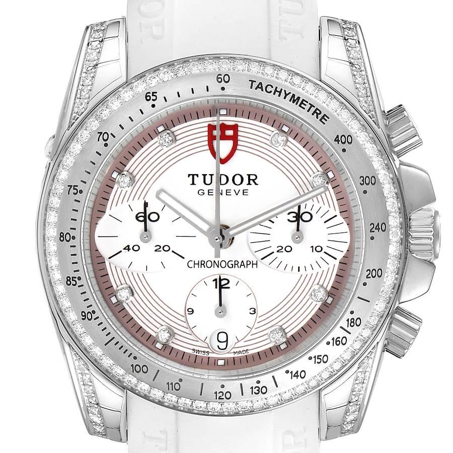 Tudor Grantour White Strap Steel Diamond Ladies Watch 20310 Unworn SwissWatchExpo