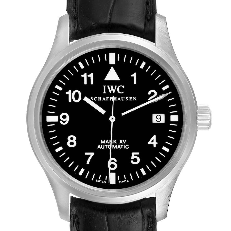 IWC Classic Mark XV Black Dial Steel Mens Watch IW325301 Papers SwissWatchExpo