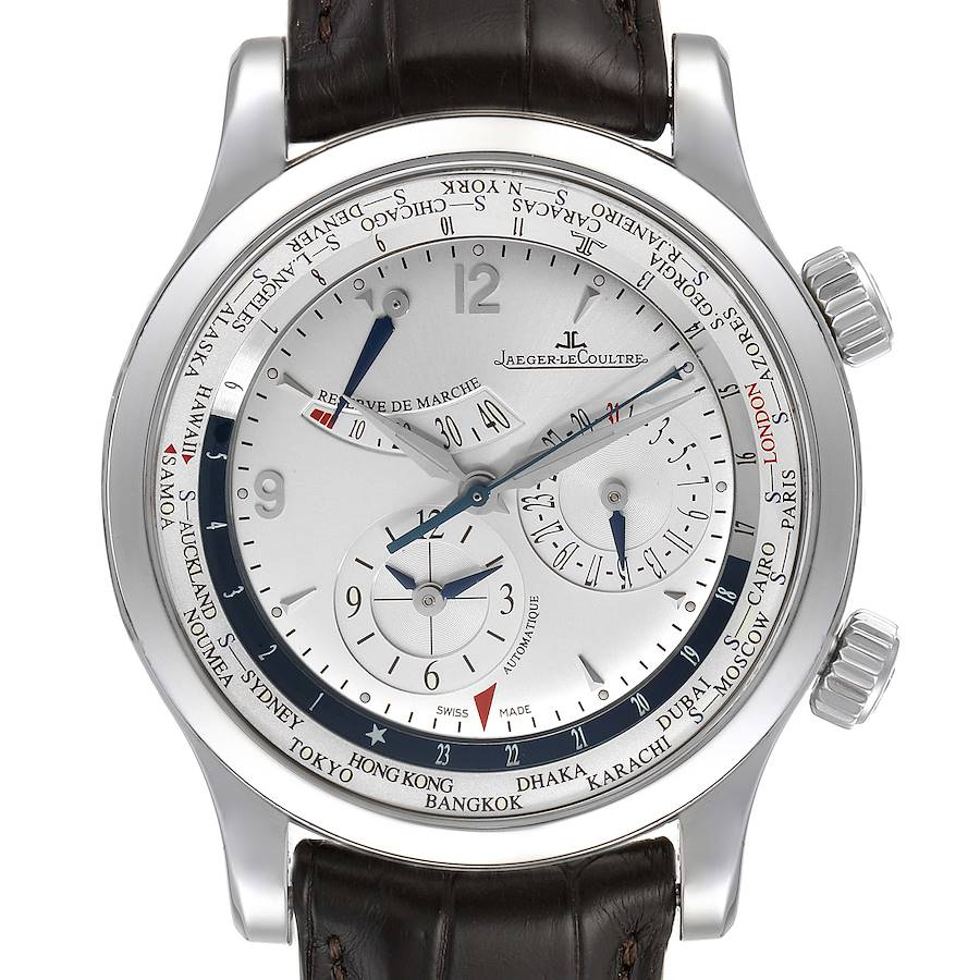 Jaeger Lecoultre Master World Geographic Steel Mens Watch 152.84.20 SwissWatchExpo