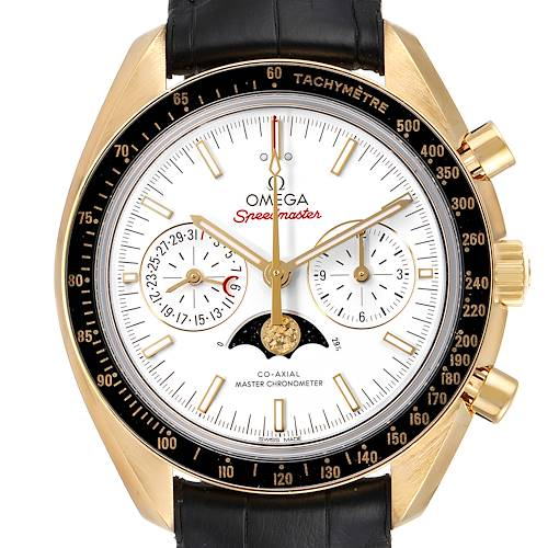 Photo of Omega Speedmaster Moonphase Yellow Gold Watch 304.63.44.52.02.001 Box Card