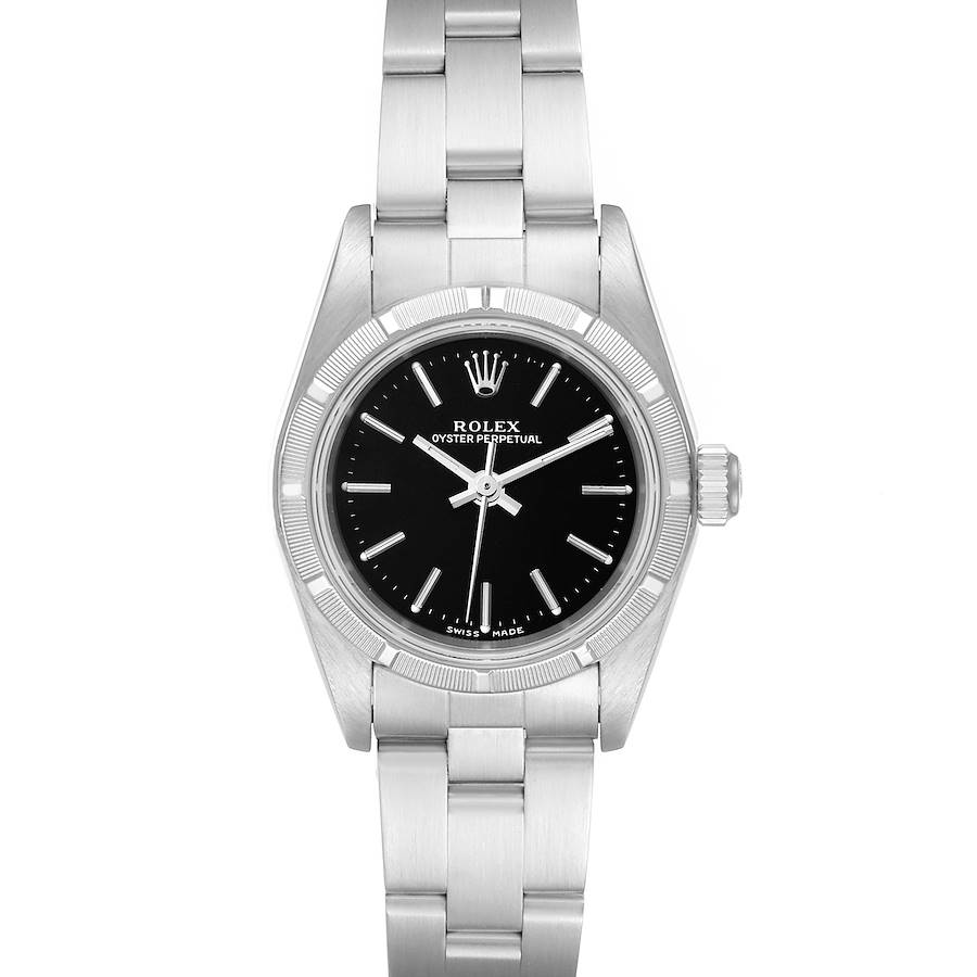 Rolex Oyster Perpetual NonDate Black Dial Ladies Watch 76030 Papers SwissWatchExpo