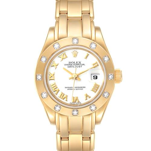Photo of Rolex Pearlmaster Yellow Gold White Dial Diamond Ladies Watch 69318
