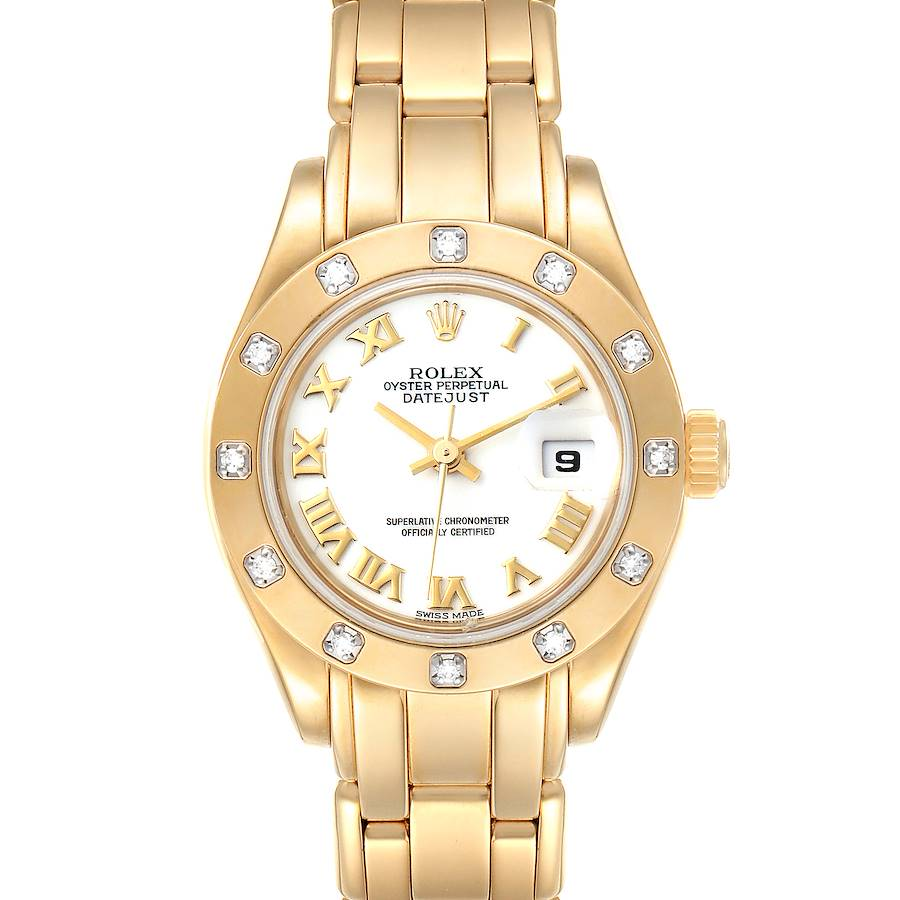 Rolex Pearlmaster Yellow Gold White Dial Diamond Ladies Watch 69318 SwissWatchExpo