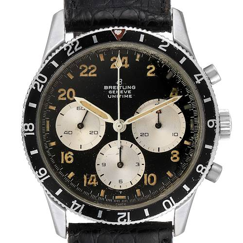 Photo of Breitling Unitime Steel Black Dial Chronograph Vintage Mens Watch 1765