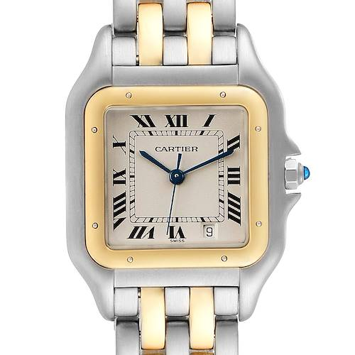 Photo of Cartier Panthere Large Steel Yellow Gold Two Row Mens Watch W25028B8 Papers