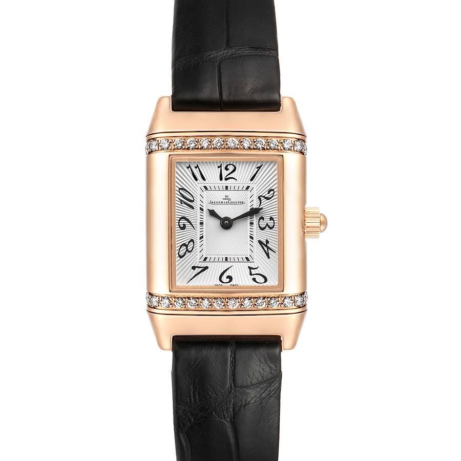 Jaeger LeCoultre Reverso 18k Rose Gold Diamond Ladies Watch 256.2.86 SwissWatchExpo