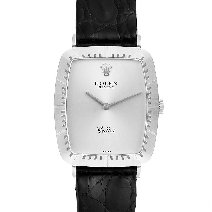 Rolex Cellini 18k White Gold Black Strap Mens Vintage Watch 4087 SwissWatchExpo
