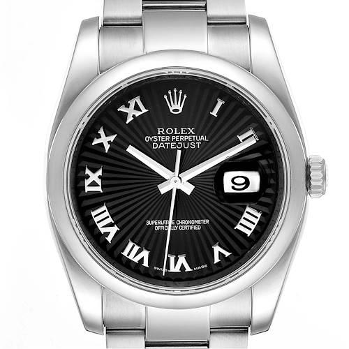 Photo of Rolex Datejust Black Sunbeam Roman Dial Steel Mens Watch 116200