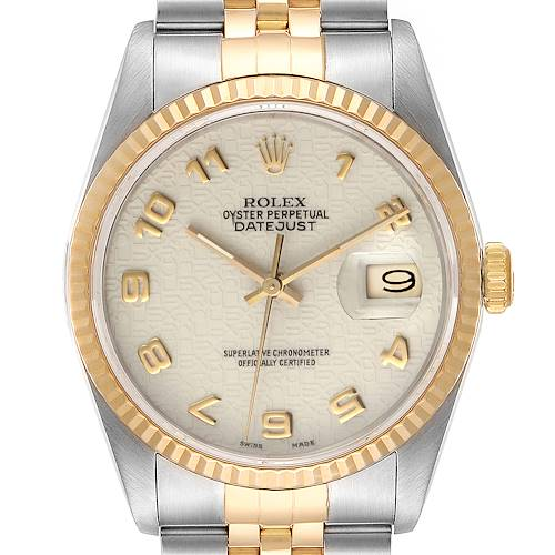 Photo of Rolex Datejust Steel 18K Yellow Gold Anniversary Dial Mens Watch 16233