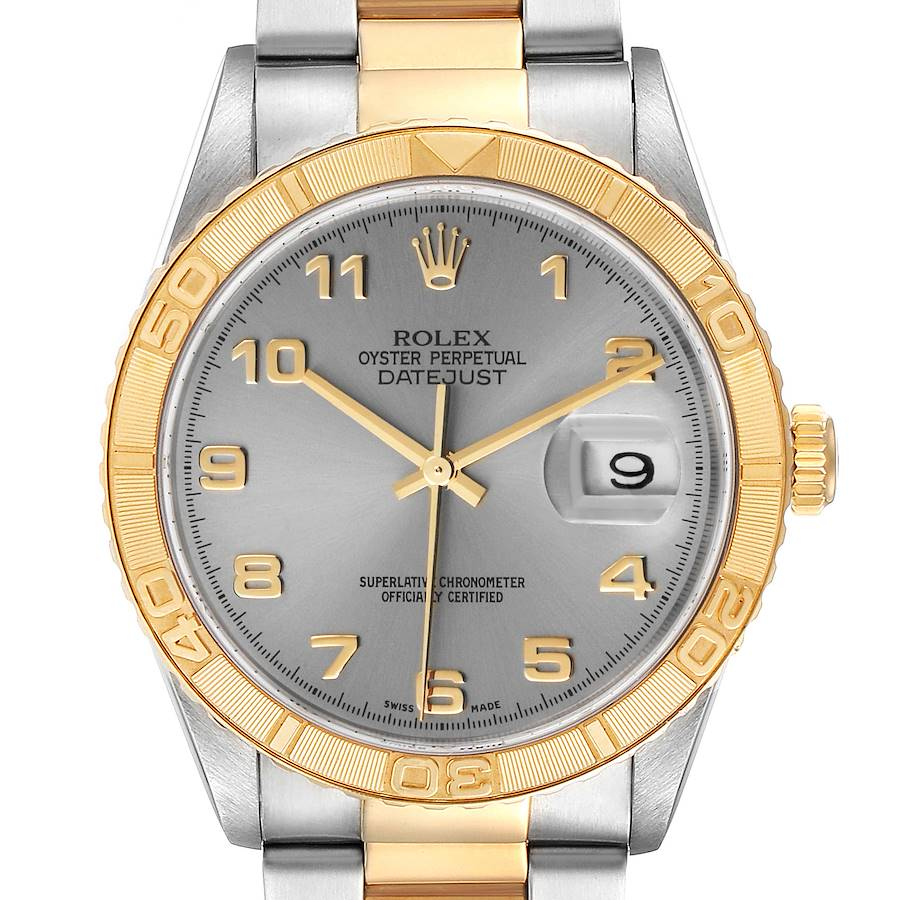 Rolex Datejust Turnograph Steel Yellow Gold Grey Dial Mens Watch 16263 SwissWatchExpo