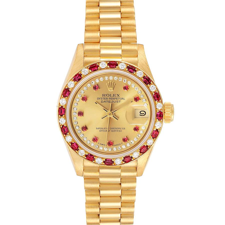 Rolex President 18k Yellow Gold Diamond Ruby Ladies Watch 69188 Box Papers SwissWatchExpo