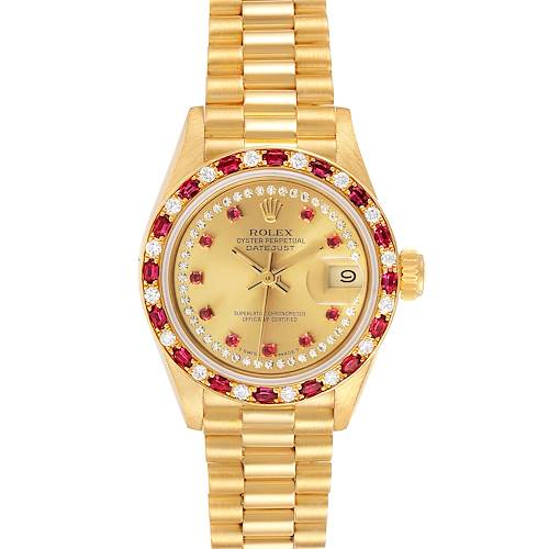 Photo of Rolex President 18k Yellow Gold Diamond Ruby Ladies Watch 69188 Box Papers