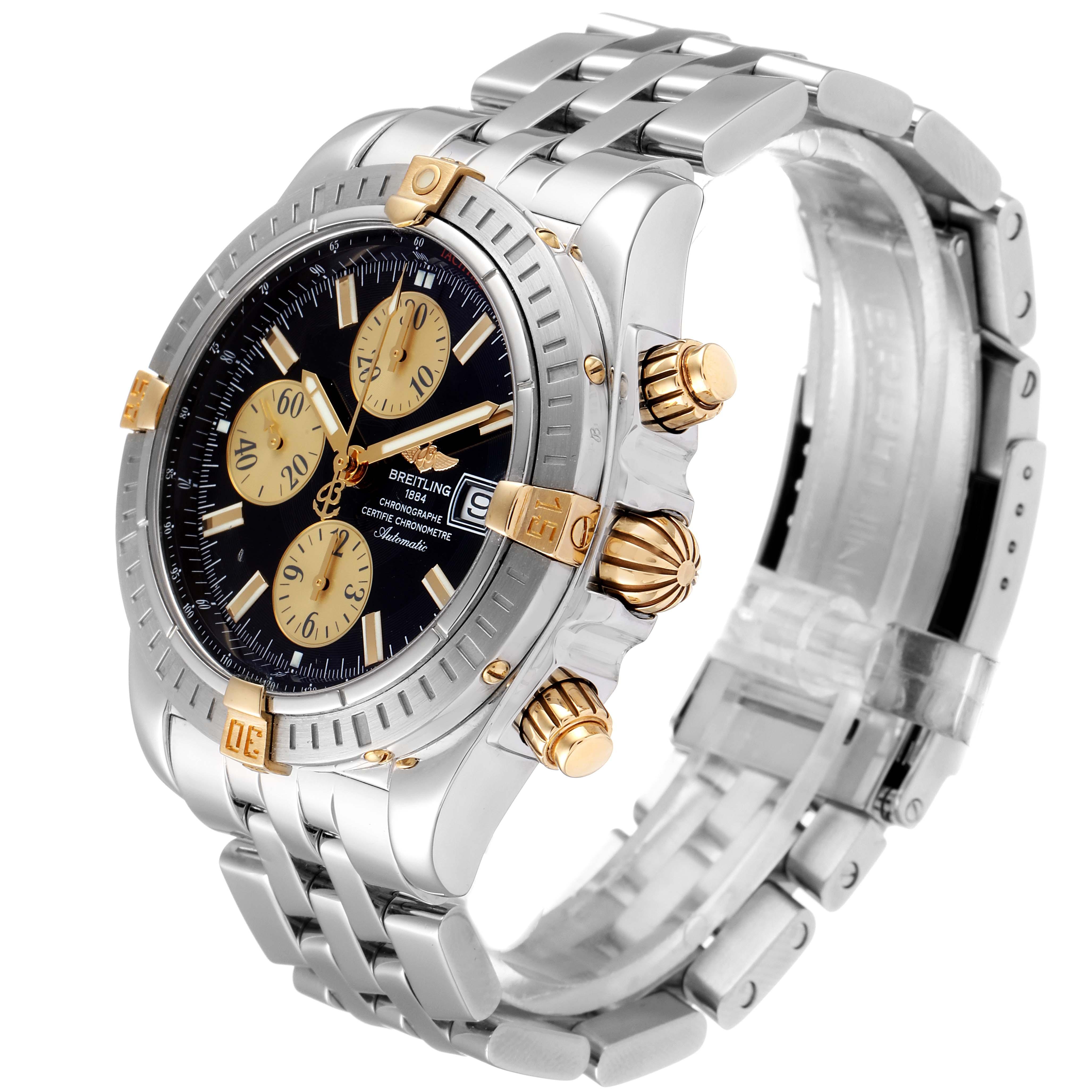 Breitling Chronomat Steel 18K Yellow Gold Black Dial Mens Watch B13356 SwissWatchExpo