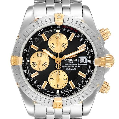 Photo of Breitling Chronomat Steel 18K Yellow Gold Black Dial Mens Watch B13356