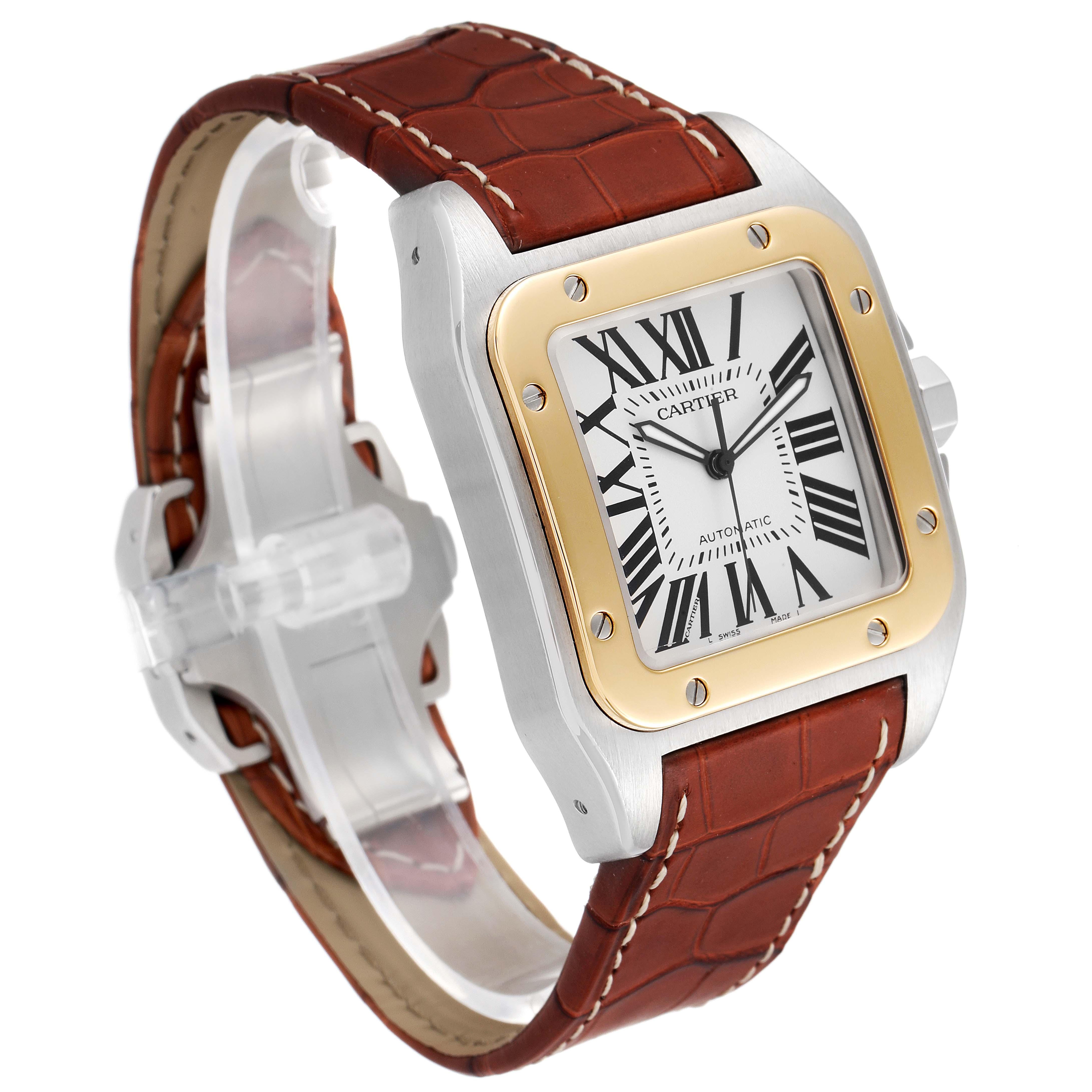 Cartier Santos 100 Steel Yellow Gold 38mm Silver Dial Mens Watch W20072X7 SwissWatchExpo