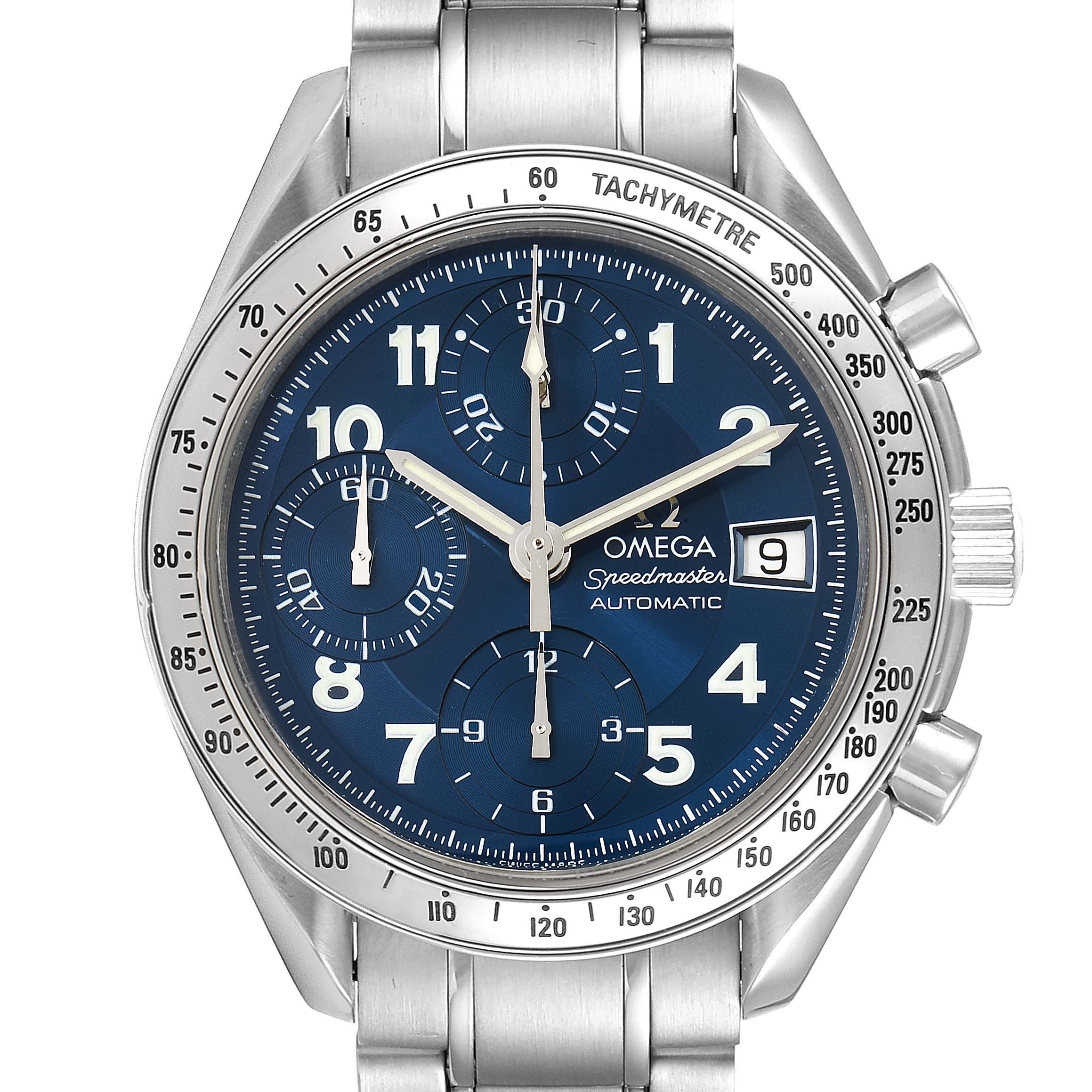 Omega Speedmaster Date 39 Blue Dial Chronograph Mens Watch 3513.82.00 SwissWatchExpo