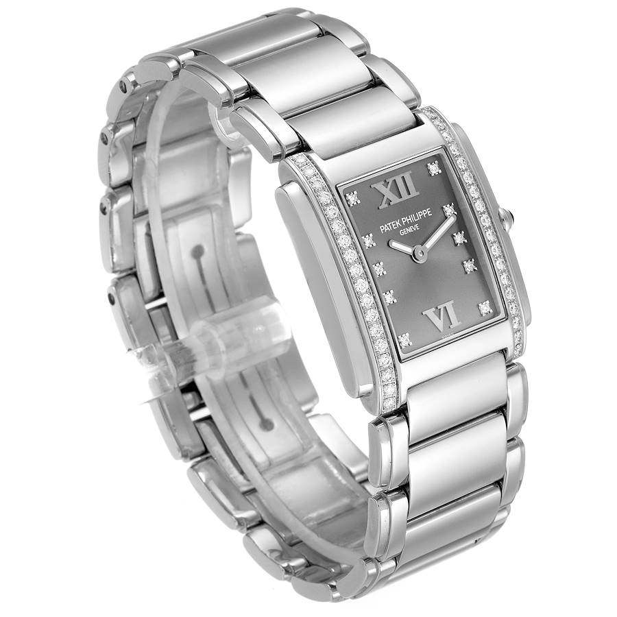 Patek Philippe Twenty-4 Grey Diamond Dial Steel Ladies Watch 4910 SwissWatchExpo