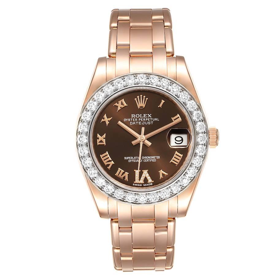 Rolex Pearlmaster 34 18k Rose Gold Diamond Ladies Watch 81285 Box Card SwissWatchExpo