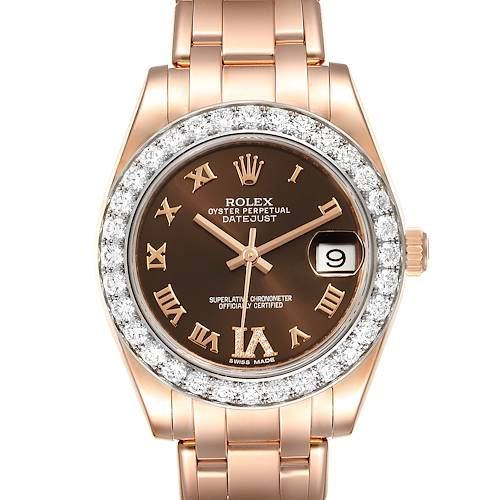 Photo of Rolex Pearlmaster 34 18k Rose Gold Diamond Ladies Watch 81285 Box Card