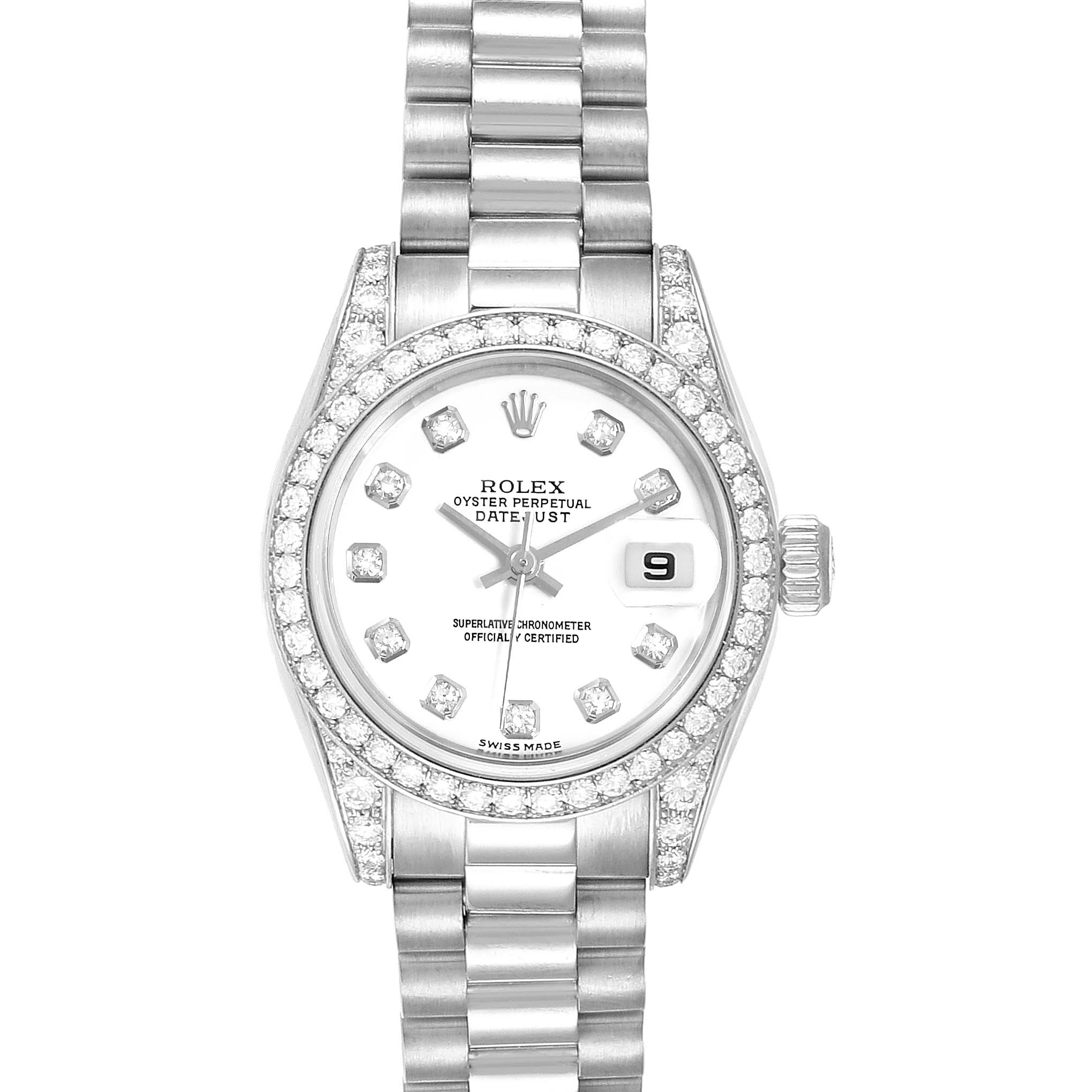 Rolex President Datejust White Gold Diamond Ladies Watch 179159 Box Papers
