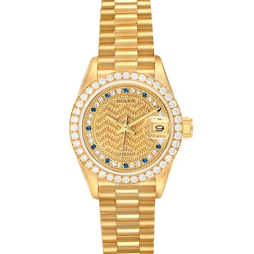 Photo of Rolex President Datejust Yellow Gold Diamond Sapphires Ladies Watch 69138