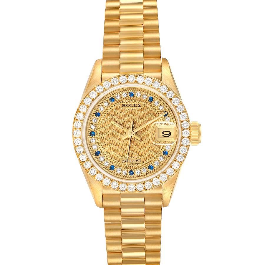 Rolex President Datejust Yellow Gold Diamond Sapphires Ladies Watch 69138 SwissWatchExpo