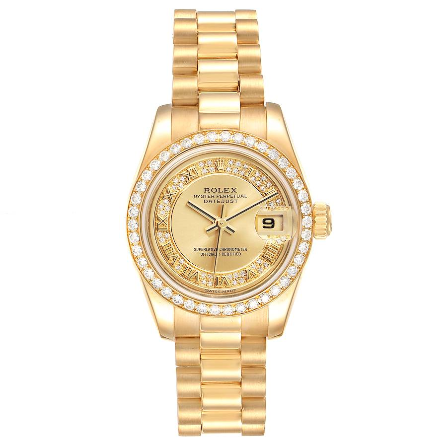 Rolex President Ladies Yellow Gold Myriad Diamond Ladies Watch 179138 SwissWatchExpo