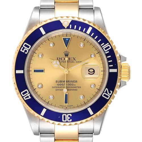 Photo of Rolex Submariner Steel Gold Diamond Sapphire Serti Dial Mens Watch 16613